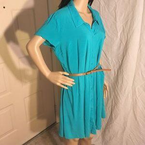 NWOT JustFab Green Shirt dress with belt size XXL